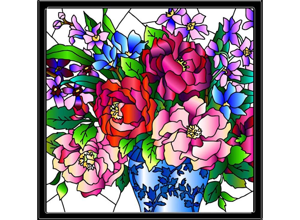 Витраж-раскраска «Букет пионов»Color KIT<br>Витраж-раскраска – новый вид раскрасок для взрослых. В комплектации набора предусмотрено все, что может понадобиться при создании уникального произведения искусства.<br>Основа этой раскраски – стекло, обрамленное в багетную раму. Расписывать витраж достаточ...<br><br>Артикул: HS003<br>Основа: стекло в багетной раме<br>Размер: 43x43 см<br>Количество цветов: 12