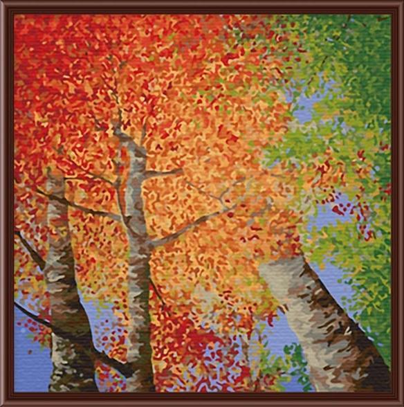 «Осеннее»Menglei (Premium)<br><br><br>Артикул: МF015<br>Основа: Холст<br>Сложность: сложные<br>Размер: 40x40 см<br>Количество цветов: 23<br>Техника рисования: Без смешивания красок