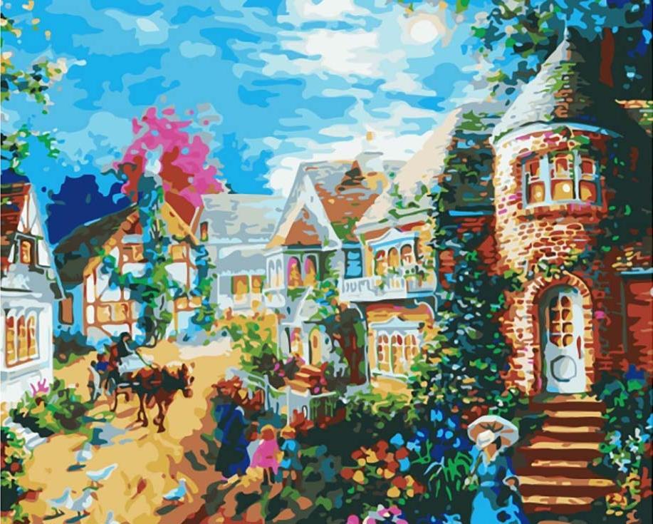 «Вечерний поселок» Ники БоэмЦветной (Premium)<br><br><br>Артикул: MG1117_Z<br>Основа: Холст<br>Сложность: сложные<br>Размер: 40x50 см<br>Количество цветов: 25<br>Техника рисования: Без смешивания красок