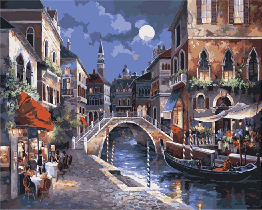 «Ночная Венеция» Джеймса ЛиЦветной (Premium)<br><br><br>Артикул: MG1129_Z<br>Основа: Холст<br>Сложность: сложные<br>Размер: 40x50 см<br>Количество цветов: 25<br>Техника рисования: Без смешивания красок