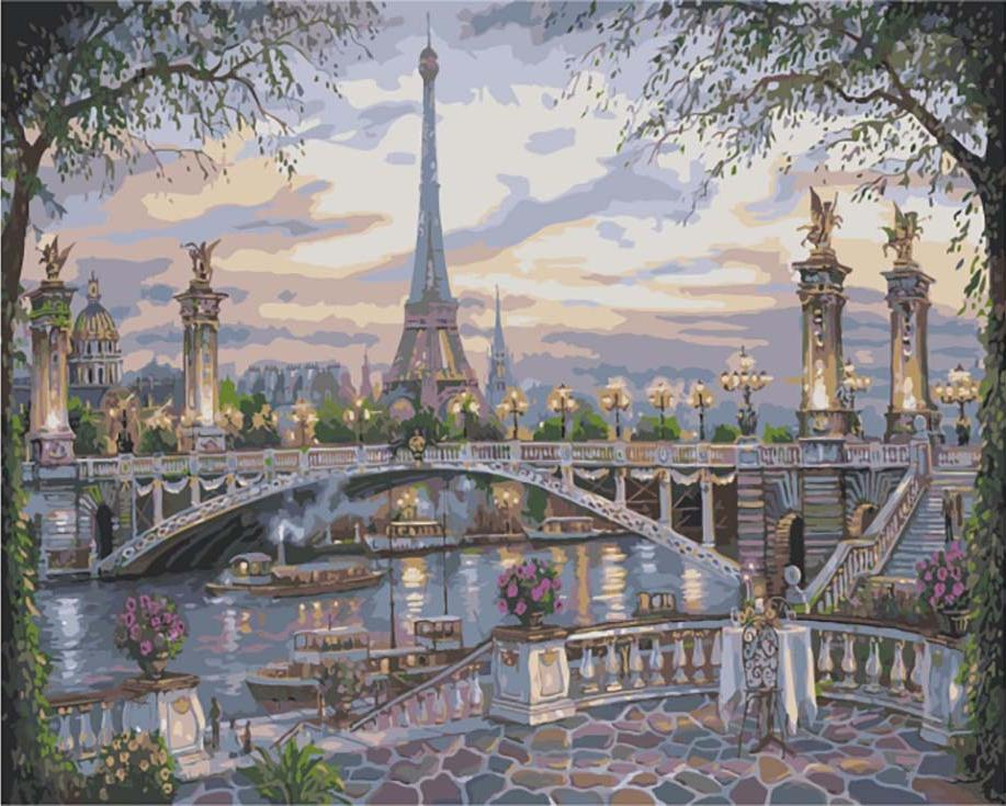 «Воспоминание о Париже» Роберта ФайнэлаЦветной (Premium)<br><br><br>Артикул: MG1148_Z<br>Основа: Цветной холст<br>Сложность: сложные<br>Размер: 40x50 см<br>Количество цветов: 25<br>Техника рисования: Без смешивания красок