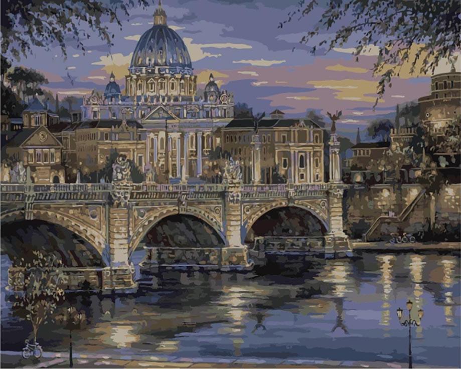 «Вечерний Ватикан» Роберта ФайнэлаЦветной (Premium)<br><br><br>Артикул: MG1150_Z<br>Основа: Цветной холст<br>Сложность: сложные<br>Размер: 40x50<br>Количество цветов: 25<br>Техника рисования: Без смешивания красок