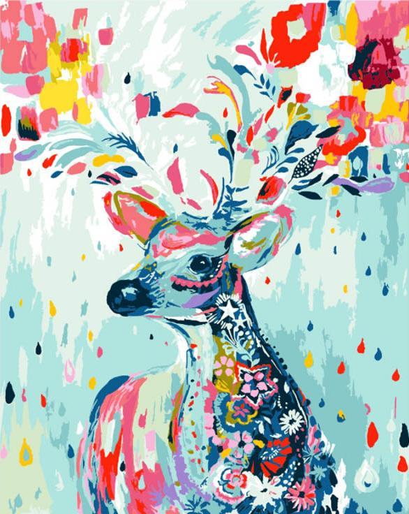 «Разрисованный олень»Menglei (Premium)<br><br><br>Артикул: MG592<br>Основа: Холст<br>Сложность: сложные<br>Размер: 40x50 см<br>Количество цветов: 17<br>Техника рисования: Без смешивания красок