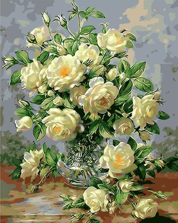 Картина по номерам «Белые розы» Альберта УильямсаMenglei (Premium)<br><br><br>Артикул: MG612<br>Основа: Холст<br>Сложность: сложные<br>Размер: 40x50 см<br>Количество цветов: 24<br>Техника рисования: Без смешивания красок