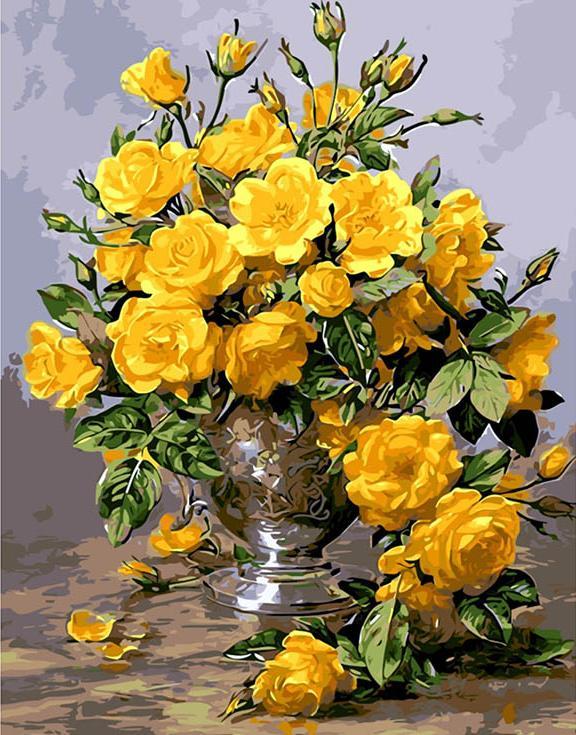 Картина по номерам «Желтые розы»Menglei (Premium)<br><br><br>Артикул: MG613<br>Основа: Холст<br>Сложность: сложные<br>Размер: 40x50 см<br>Количество цветов: 24<br>Техника рисования: Без смешивания красок