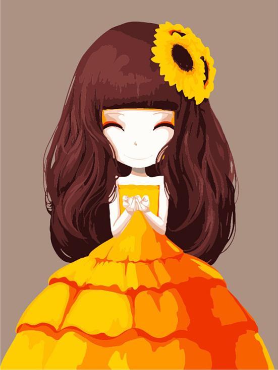 «Девочка-Осень»Цветной (Premium)<br><br><br>Артикул: MG620_Z<br>Основа: Холст<br>Сложность: сложные<br>Размер: 40x50<br>Количество цветов: 25<br>Техника рисования: Без смешивания красок