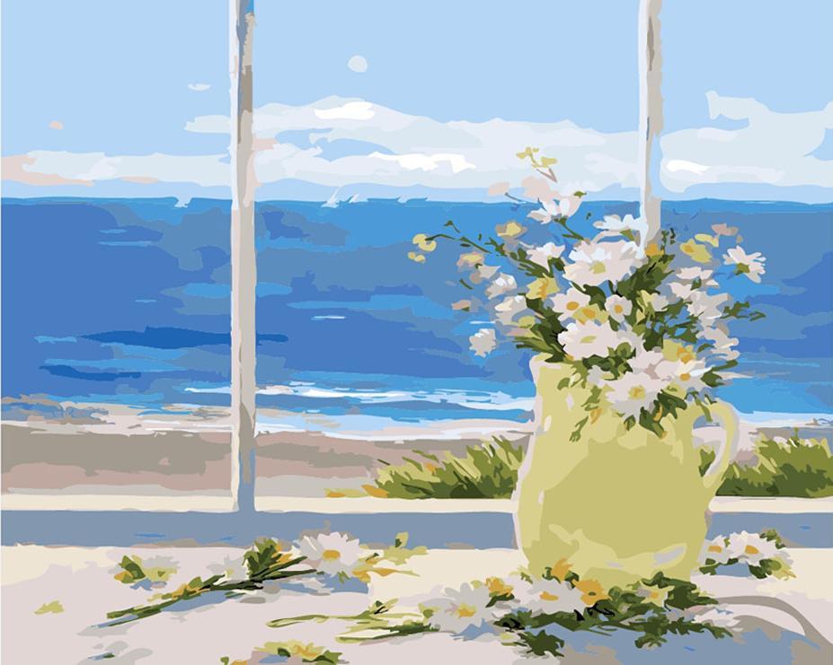Картина по номерам «Цветы у моря»Цветной (Premium)<br><br><br>Артикул: MG622_Z<br>Основа: Холст<br>Сложность: сложные<br>Размер: 40x50 см<br>Количество цветов: 22<br>Техника рисования: Без смешивания красок