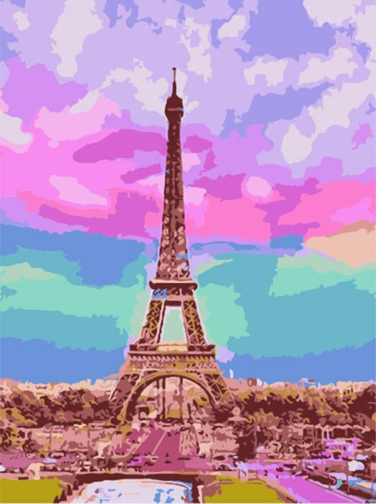 Картина по номерам «Романтика Эйфелевой башни»Menglei (Premium)<br><br><br>Артикул: MG633<br>Основа: Холст<br>Сложность: сложные<br>Размер: 40x50 см<br>Количество цветов: 20<br>Техника рисования: Без смешивания красок