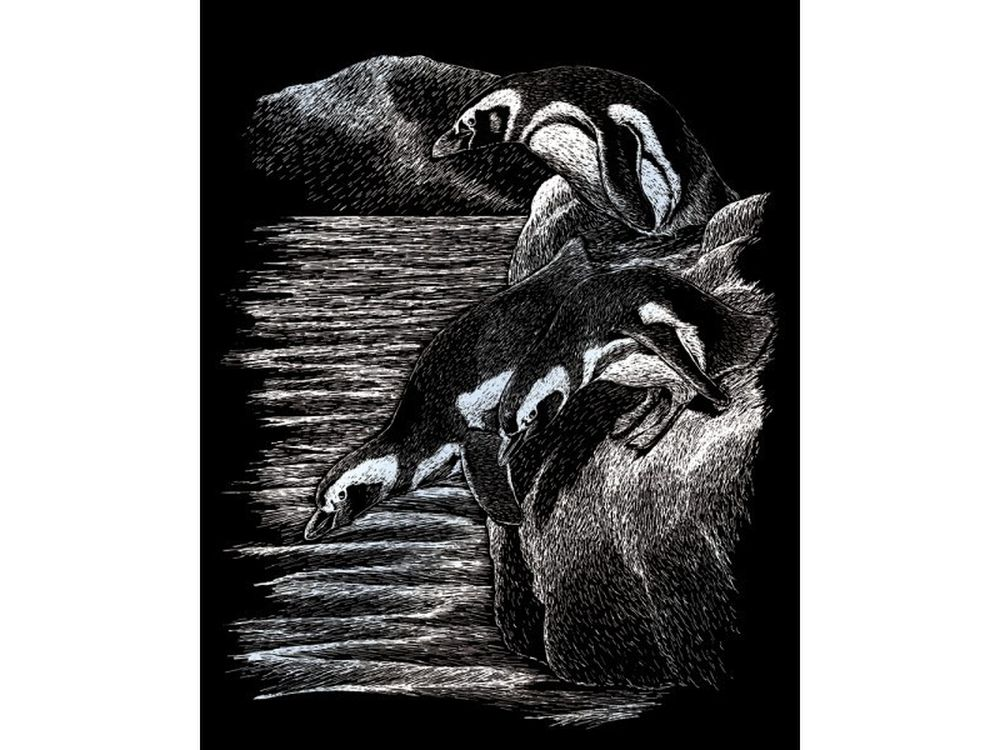Гравюра «Пингвины»Гравюры<br>Красивые образы, созданные при помощи гравировки, привлекают и техникой исполнения, и результатом.<br><br> Основа - плотный картон со специальным черным матовым покрытием и с нанесенным на него контуром-наброском. Аккуратно сцарапывайте покрытие с наброска с по...<br><br>Артикул: SILF20<br>Размер: 20,3x25,4 см<br>Цвет: Серебро