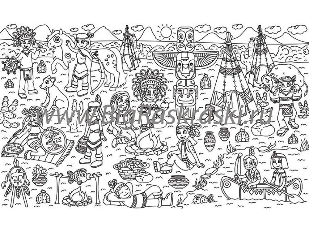 Плакат-раскраска «Жизнь индейцев»Плакаты-раскраски<br>ВНИМАНИЕ! В наборе предусмотрены специальные клеевые точки для крепления к любой гладкой поверхности! Плакат можно прикрепить на обои или мебель. <br> <br> Отличная идея для совместного творческого досуга - раскрашивание плакатов-раскрасок. Большой размер, че...<br><br>Артикул: 100916<br>Размер: 60x100 см<br>Материал: Плотная бумага с покрытием