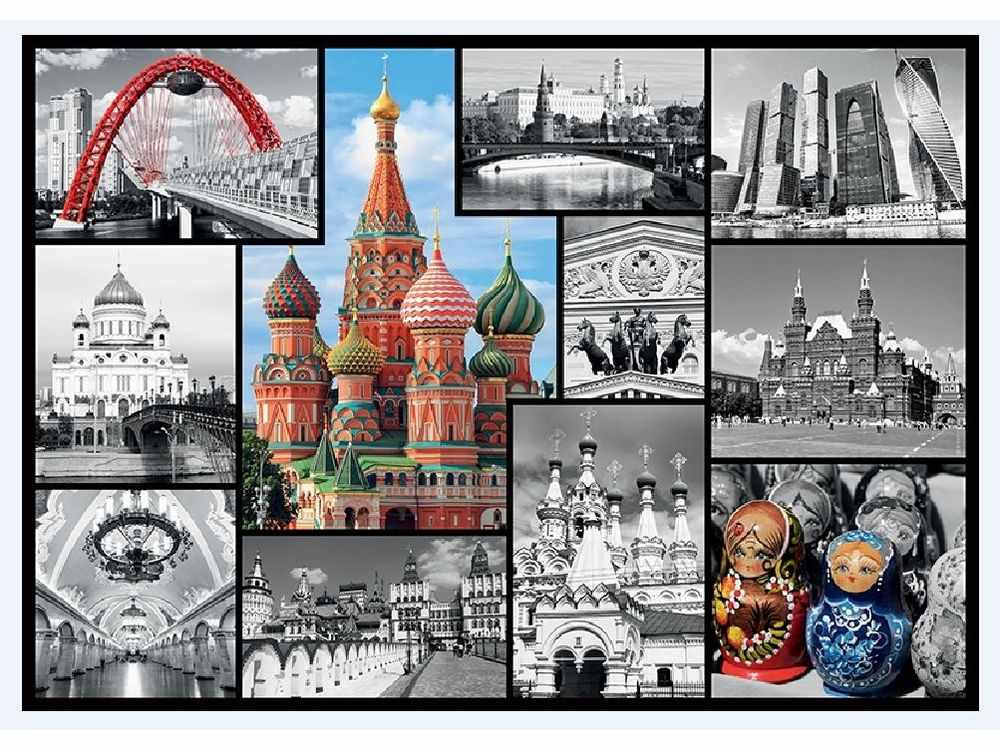 Пазлы «Москва-коллаж»Trefl<br>Пазл - игра-головоломка, мозаика, состоящая из множества фрагментов, различающихся по форме.<br> По мнению психологов, игра в пазлы способствует развитию логического мышления, внимания, воображения и памяти. Пазлы хороши для всех возрастов - и ребенка-дошко...<br><br>Артикул: 10380<br>Размер: 68,3x48 см