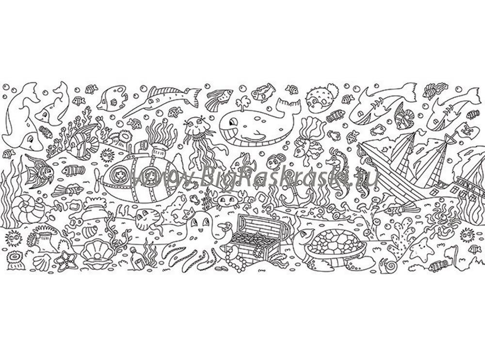 Плакат-раскраска «Подводный мир»Плакаты-раскраски<br>ВНИМАНИЕ! В наборе предусмотрены специальные клеевые точки для крепления к любой гладкой поверхности! Плакат можно прикрепить на обои или мебель. <br> <br> Отличная идея для совместного творческого досуга - раскрашивание плакатов-раскрасок. Большой размер, че...<br><br>Артикул: 150404<br>Размер: 60x150 см<br>Материал: Плотная бумага с покрытием