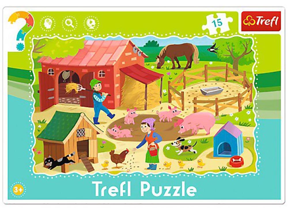 Пазлы «Ферма»Trefl<br>Пазл - игра-головоломка, мозаика, состоящая из множества фрагментов, различающихся по форме.<br> По мнению психологов, игра в пазлы способствует развитию логического мышления, внимания, воображения и памяти. Пазлы хороши для всех возрастов - и ребенка-дошко...<br><br>Артикул: 31216<br>Размер: 33,2x22,8 см