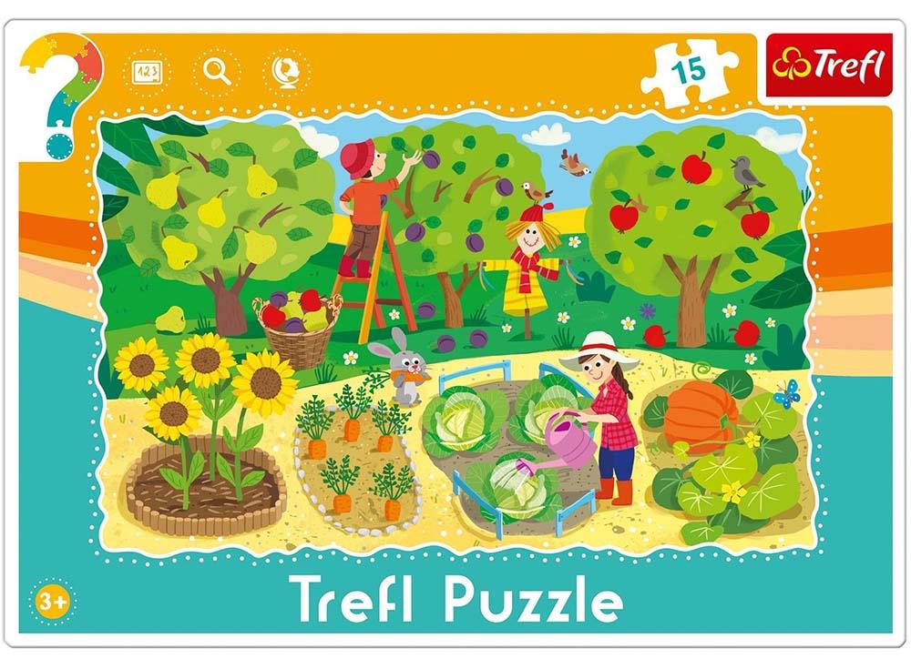 Пазлы «Сад»Trefl<br>Пазл - игра-головоломка, мозаика, состоящая из множества фрагментов, различающихся по форме.<br> По мнению психологов, игра в пазлы способствует развитию логического мышления, внимания, воображения и памяти. Пазлы хороши для всех возрастов - и ребенка-дошко...<br><br>Артикул: 31218<br>Размер: 33,2x22,8 см