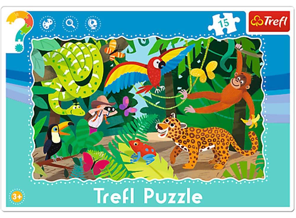 Пазлы «Тропические джунгли»Trefl<br>Пазл - игра-головоломка, мозаика, состоящая из множества фрагментов, различающихся по форме.<br> По мнению психологов, игра в пазлы способствует развитию логического мышления, внимания, воображения и памяти. Пазлы хороши для всех возрастов - и ребенка-дошко...<br><br>Артикул: 31219<br>Размер: 33,2x22,8 см