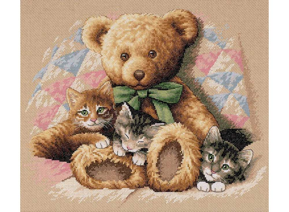Купить Вышивка крестом, Набор для вышивания «Мишка и котята» Лэсли Харрисон, Dimensions, США