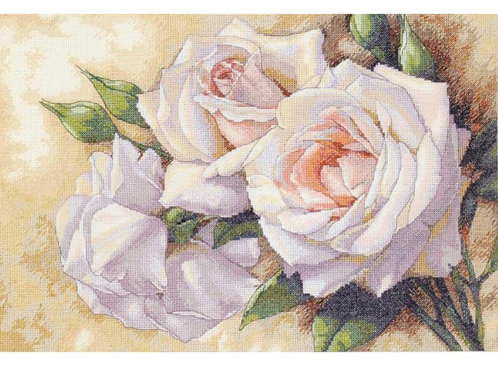 Набор для вышивания «Белые розы» Игоря ЛевашоваDimensions<br><br><br>Артикул: 35247<br>Основа: канва Aida 14<br>Сложность: очень сложные<br>Размер: 41x28 см<br>Техника вышивки: счетный крест<br>Количество цветов: 20-35<br>Заполнение: Полное<br>Рисунок на канве: не нанесён<br>Техника: Вышивка крестом
