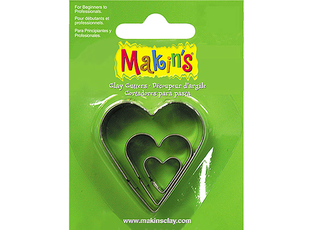 Набор каттеров Makin's «Сердце»Инструменты для лепки<br><br><br>Артикул: 36007<br>Размер см: 40x40, 25x25, 14x14 мм