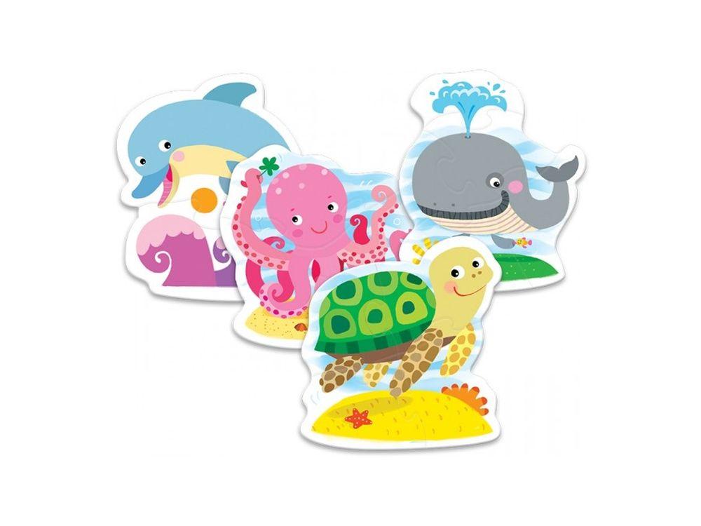 Пазлы «В океане»Trefl<br>Пазл - игра-головоломка, мозаика, состоящая из множества фрагментов, различающихся по форме.<br> По мнению психологов, игра в пазлы способствует развитию логического мышления, внимания, воображения и памяти. Пазлы хороши для всех возрастов - и ребенка-дошко...<br><br>Артикул: 36055
