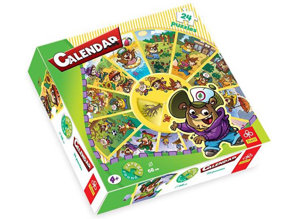 Пазлы «Календарь»Trefl<br>Пазл - игра-головоломка, мозаика, состоящая из множества фрагментов, различающихся по форме.<br> По мнению психологов, игра в пазлы способствует развитию логического мышления, внимания, воображения и памяти. Пазлы хороши для всех возрастов - и ребенка-дошко...<br><br>Артикул: 39050<br>Размер: 68 см