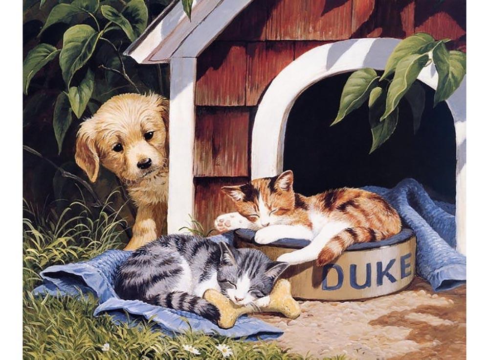 Набор вышивки бисером «Собака и котята» Персис Клейтон ВейерсColor KIT<br><br><br>Артикул: 599<br>Основа: ткань<br>Сложность: легкие<br>Размер: 27x35 см<br>Техника вышивки: бисер<br>Количество цветов: 10-15<br>Заполнение: Частичное<br>Рисунок на канве: нанесена схема<br>Техника: Вышивка бисером