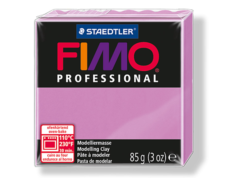 FIMO Professional 62 (лаванда)Полимерная глина FIMO<br>Полимерная глина — удивительный материал для творчества и декоративно-прикладного искусства. Лепка из полимерной глины в равной степени увлекает детей и взрослых, вдохновляет мастеров и новичков. Этот вид творчества не требует профессиональной подготовки ...<br><br>Артикул: 8004-62<br>Вес: 85 г<br>Цвет: Лаванда<br>Серия: FIMO Professional