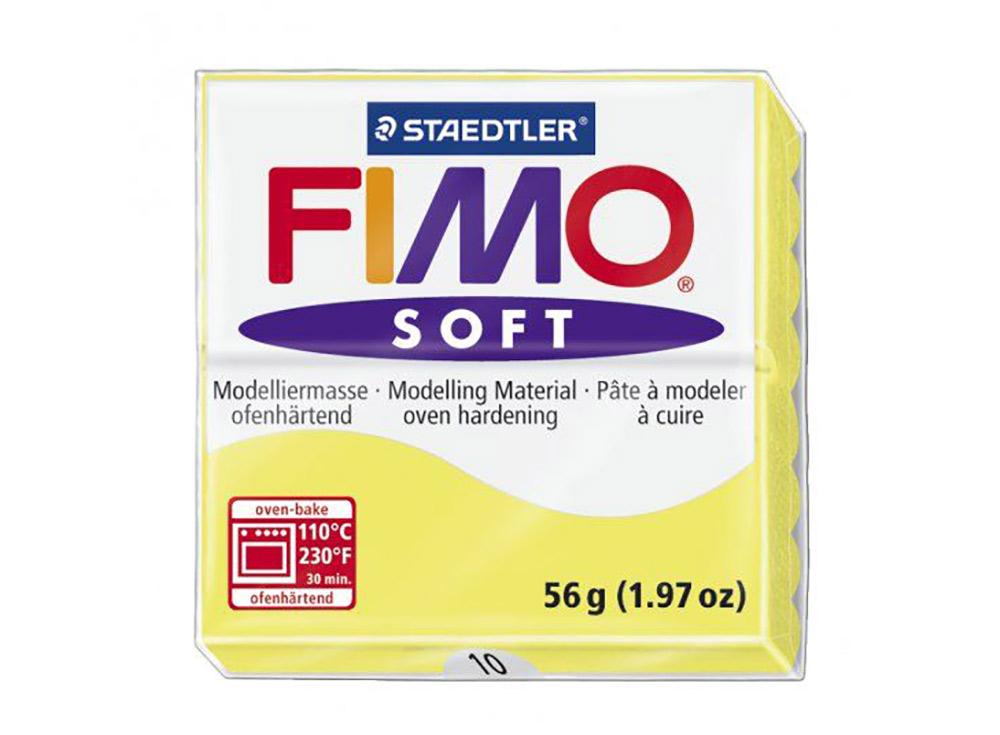FIMO Soft 10 (лимонный)Полимерная глина FIMO<br>Полимерная глина FIMO Soft используется для изготовления украшений, бижутерии и предметов декора.<br> <br> Характеристика:<br><br>мягкая (мягче, чем FIMO Professional);<br>хорошо держит форму, плотность глины позволяет тщательно проработать мельчайшие подробности...<br><br>Артикул: 8020-10<br>Вес: 57 г<br>Цвет: Лимонный<br>Серия: FIMO Soft