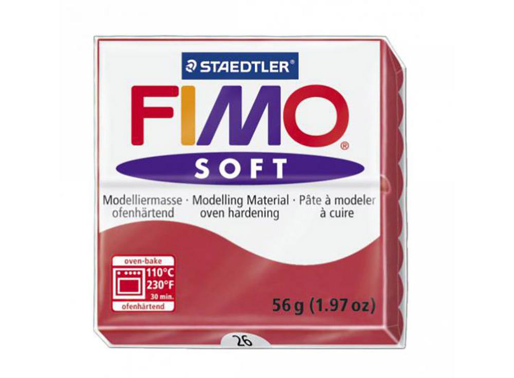 FIMO Soft 26 (вишневый)Полимерная глина FIMO<br>Полимерная глина — удивительный материал для творчества и декоративно-прикладного искусства. Лепка из полимерной глины в равной степени увлекает детей и взрослых, вдохновляет мастеров и новичков. Этот вид творчества не требует профессиональной подготовки ...<br><br>Артикул: 8020-26<br>Вес: 57 г<br>Цвет: Вишневый<br>Серия: FIMO Soft