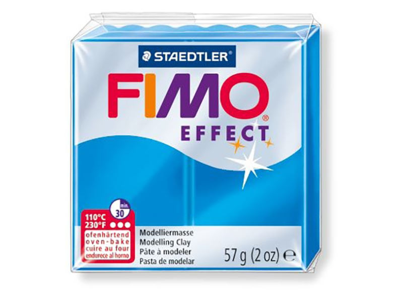 FIMO Effect 374 (полупрозрачный синий)Полимерная глина FIMO<br><br><br>Артикул: 8020-374<br>Вес: 57 г<br>Цвет: Полупрозрачный синий<br>Серия: FIMO Effect