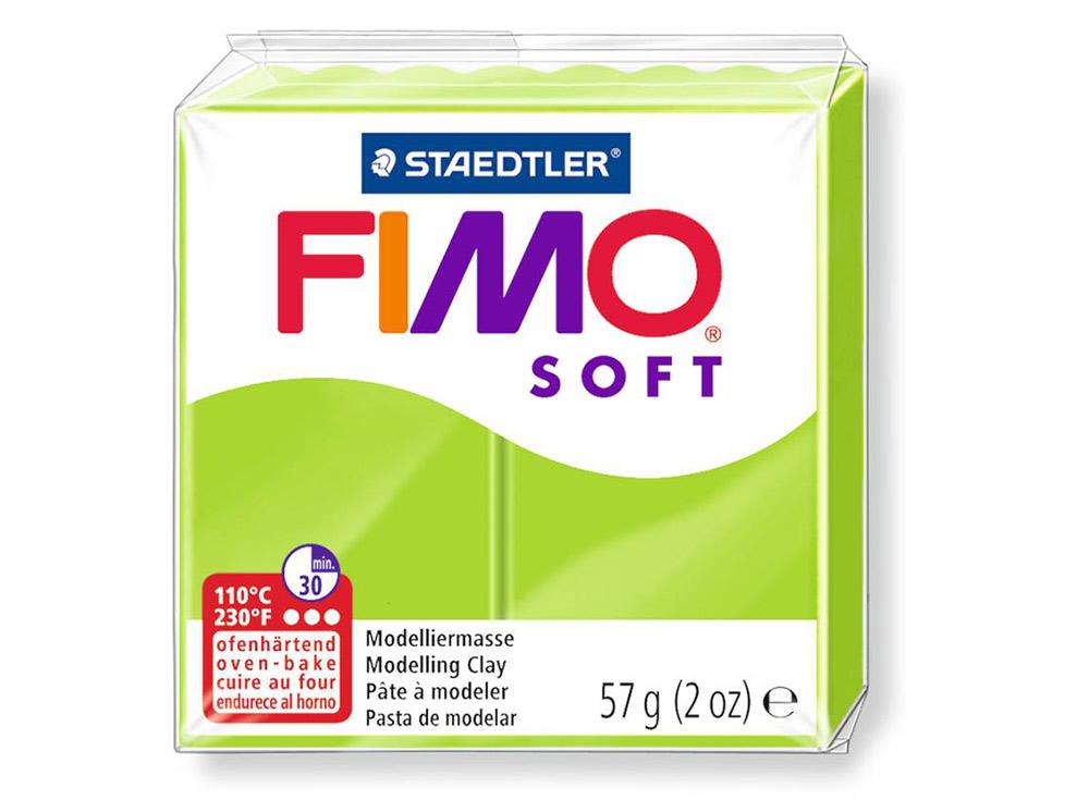 FIMO Soft 50 (зеленое яблоко)Полимерная глина FIMO<br>Полимерная глина FIMO Soft используется для изготовления украшений, бижутерии и предметов декора.<br> <br> Характеристика:<br><br>мягкая (мягче, чем FIMO Professional);<br>хорошо держит форму, плотность глины позволяет тщательно проработать мельчайшие подробности...<br><br>Артикул: 8020-50<br>Вес: 57 г<br>Цвет: Зеленое яблоко<br>Серия: FIMO Soft