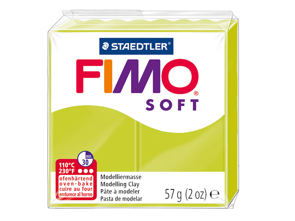 FIMO Soft 52 (зеленый лайм)Полимерная глина FIMO<br>Полимерная глина — удивительный материал для творчества и декоративно-прикладного искусства. Лепка из полимерной глины в равной степени увлекает детей и взрослых, вдохновляет мастеров и новичков. Этот вид творчества не требует профессиональной подготовки ...<br><br>Артикул: 8020-52<br>Вес: 57 г<br>Цвет: Зеленый лайм<br>Серия: FIMO Soft