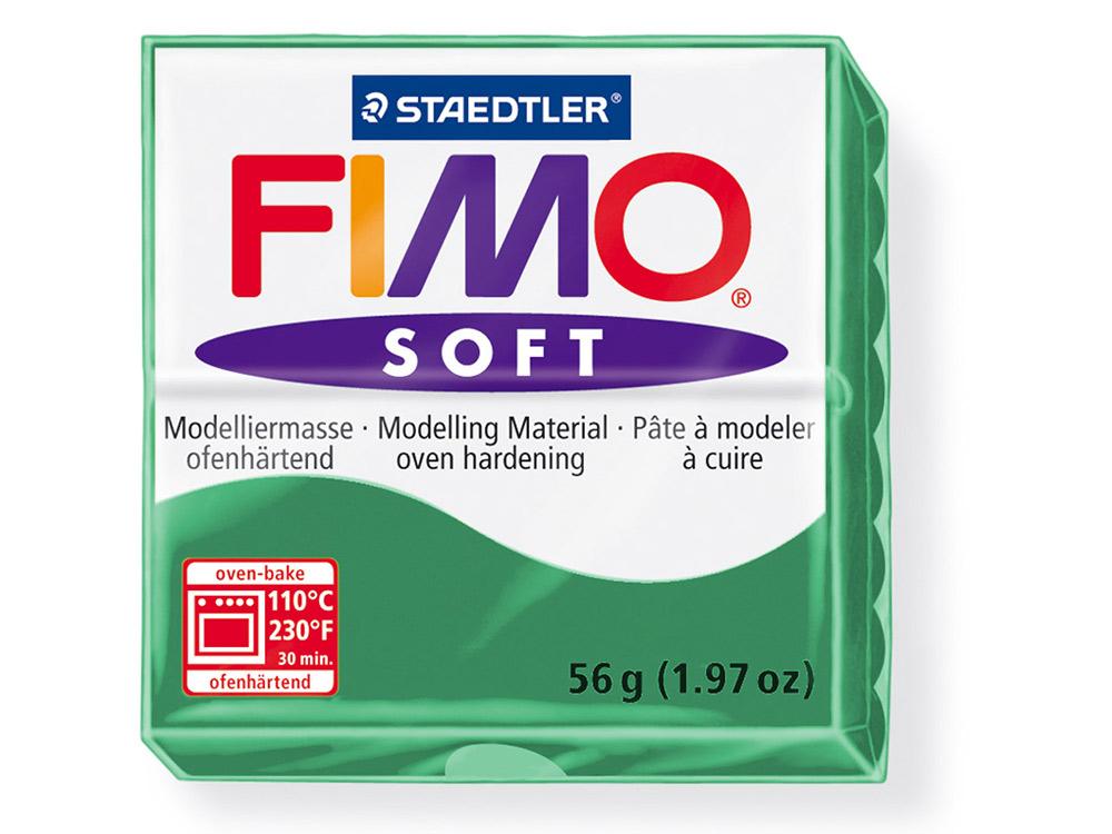 FIMO Soft 56 (изумруд)Полимерная глина FIMO<br>Полимерная глина FIMO Soft используется для изготовления украшений, бижутерии и предметов декора.<br> <br> Характеристика:<br><br>мягкая (мягче, чем FIMO Professional);<br>хорошо держит форму, плотность глины позволяет тщательно проработать мельчайшие подробности...<br><br>Артикул: 8020-56<br>Вес: 57 г<br>Цвет: Изумруд<br>Серия: FIMO Soft