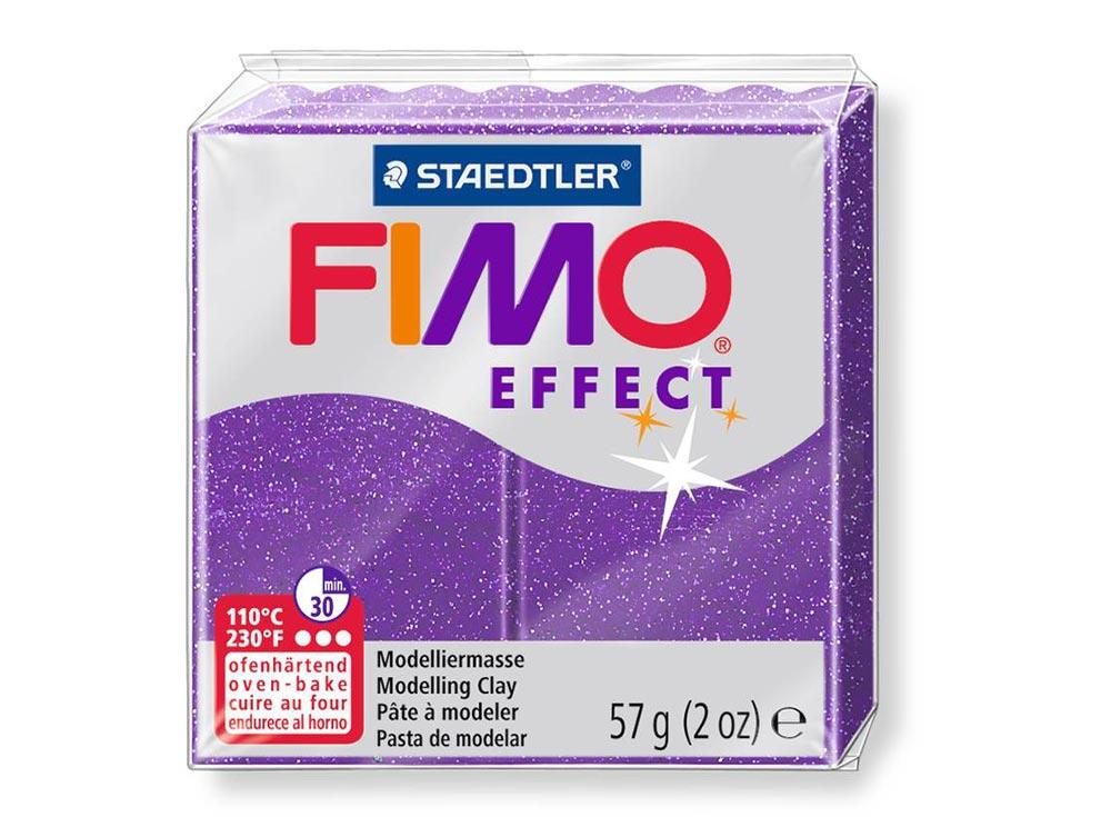 FIMO Effect 602 (фиолетовый с блестками)Полимерная глина FIMO<br><br><br>Артикул: 8020-602<br>Вес: 57 г<br>Цвет: Фиолетовый с блестками<br>Серия: FIMO Effect