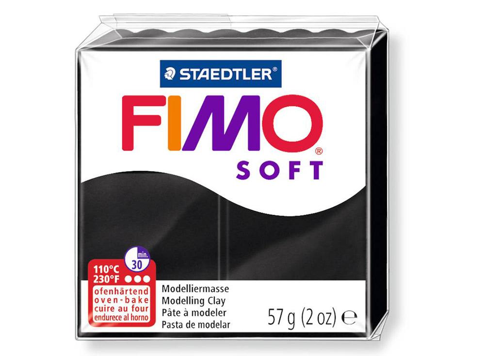 FIMO Soft 9 (черный)Полимерная глина FIMO<br>Полимерная глина FIMO Soft используется для изготовления украшений, бижутерии и предметов декора.<br> <br> Характеристика:<br><br>мягкая (мягче, чем FIMO Professional);<br>хорошо держит форму, плотность глины позволяет тщательно проработать мельчайшие подробности...<br><br>Артикул: 8020-9<br>Вес: 57 г<br>Цвет: Черный<br>Серия: FIMO Soft