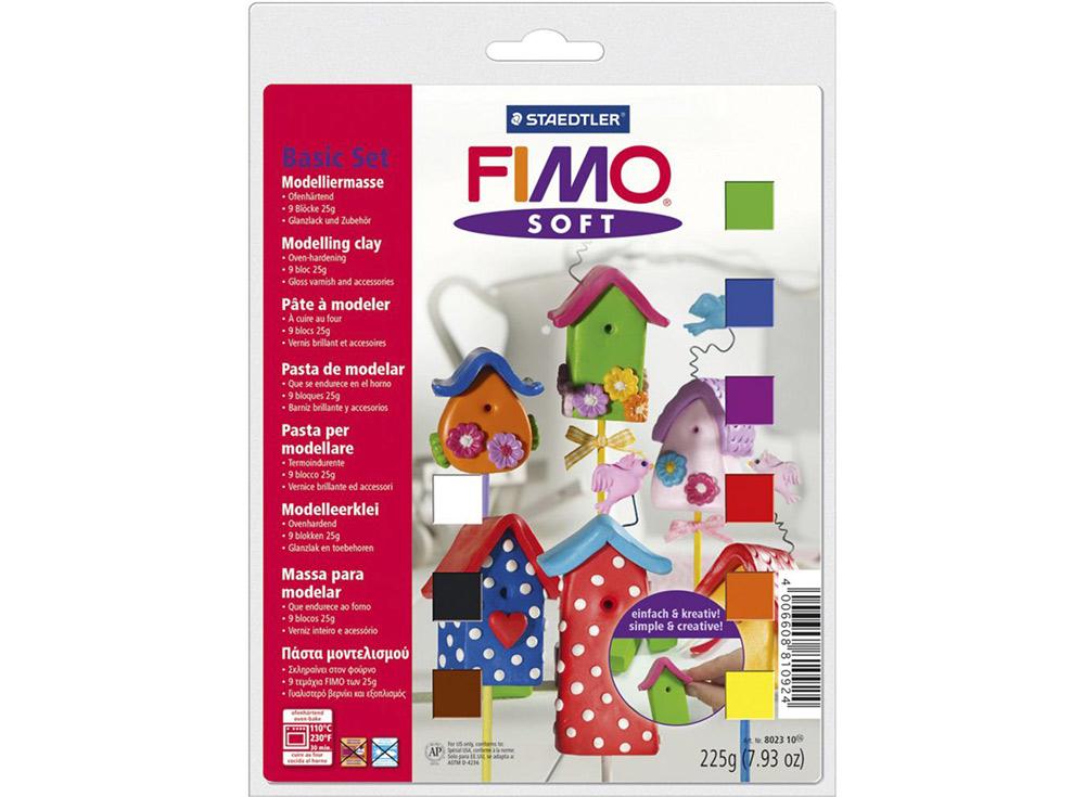 Набор FIMO Soft (9 цветов х 25 г, лак, инструменты)Полимерная глина FIMO<br>Полимерная глина — удивительный материал для творчества и декоративно-прикладного искусства. Лепка из полимерной глины в равной степени увлекает детей и взрослых, вдохновляет мастеров и новичков. Этот вид творчества не требует профессиональной подготовки ...<br><br>Артикул: 8023_10<br>Вес: 25 г<br>Серия: Наборы FIMO