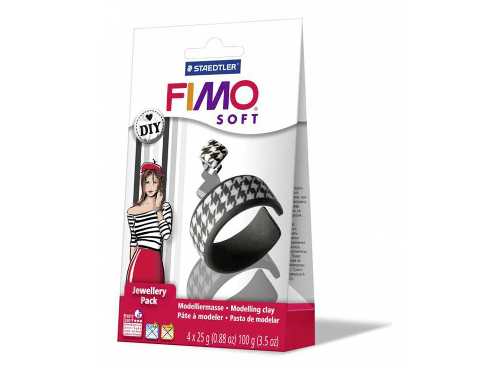 Набор FIMO Soft для украшений «Черное и белое»Полимерная глина FIMO<br>Полимерная глина — удивительный материал для творчества и декоративно-прикладного искусства. Лепка из полимерной глины в равной степени увлекает детей и взрослых, вдохновляет мастеров и новичков. Этот вид творчества не требует профессиональной подготовки ...<br><br>Артикул: 8025_05<br>Вес: 25 г<br>Серия: Наборы FIMO