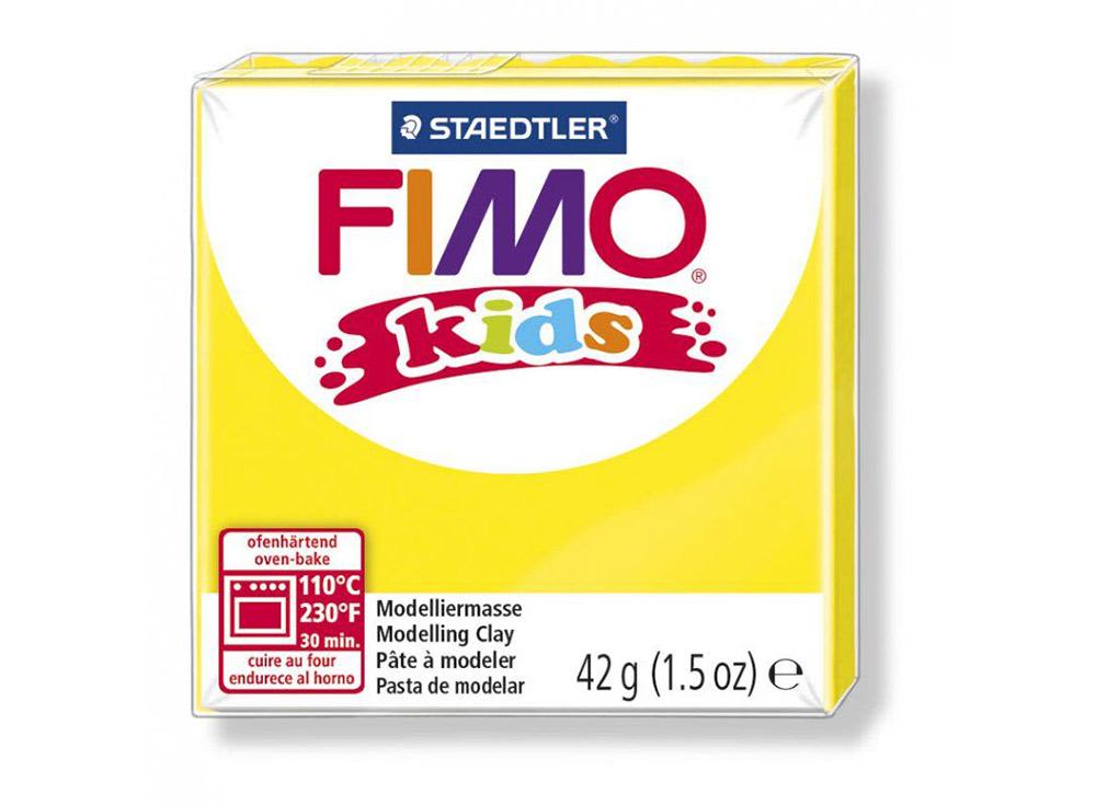 FIMO Kids 1 (желтый)Полимерная глина FIMO<br>FIMO Kids - специальная серия мягкой полимерной глины для детей. Идеально подходит для лепки фигурок, цветов, сувениров, игрушек.<br> <br> Характеристика:<br> - мягкая консистенция глины (не нужно прилагать усилий для размягчения, она уже достаточно мягкая для ...<br><br>Артикул: 8030-1<br>Вес: 42 г<br>Цвет: Желтый<br>Серия: FIMO Kids