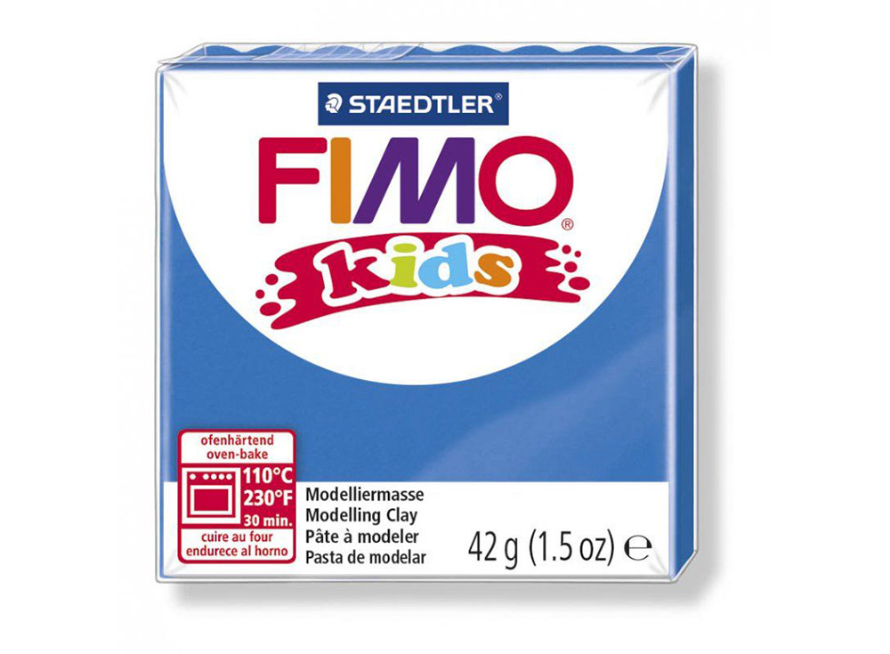FIMO Kids 3 (синий)Полимерная глина FIMO<br>Полимерная глина — удивительный материал для творчества и декоративно-прикладного искусства. Лепка из полимерной глины в равной степени увлекает детей и взрослых, вдохновляет мастеров и новичков. Этот вид творчества не требует профессиональной подготовки ...<br><br>Артикул: 8030-3<br>Вес: 42 г<br>Цвет: Синий<br>Серия: FIMO Kids
