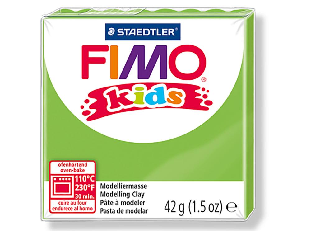 FIMO Kids 51 (светло-зеленый)Полимерная глина FIMO<br>FIMO Kids - специальная серия мягкой полимерной глины для детей. Идеально подходит для лепки фигурок, цветов, сувениров, игрушек.<br> <br> Характеристика:<br> - мягкая консистенция глины (не нужно прилагать усилий для размягчения, она уже достаточно мягкая для ...<br><br>Артикул: 8030-51<br>Вес: 42 г<br>Цвет: Светло-зеленый<br>Серия: FIMO Kids