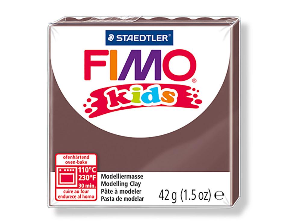 FIMO Kids 7 (коричневый)Полимерная глина FIMO<br>FIMO Kids - специальная серия мягкой полимерной глины для детей. Идеально подходит для лепки фигурок, цветов, сувениров, игрушек.<br> <br> Характеристика:<br> - мягкая консистенция глины (не нужно прилагать усилий для размягчения, она уже достаточно мягкая для ...<br><br>Артикул: 8030-7<br>Вес: 42 г<br>Цвет: Коричневый<br>Серия: FIMO Kids