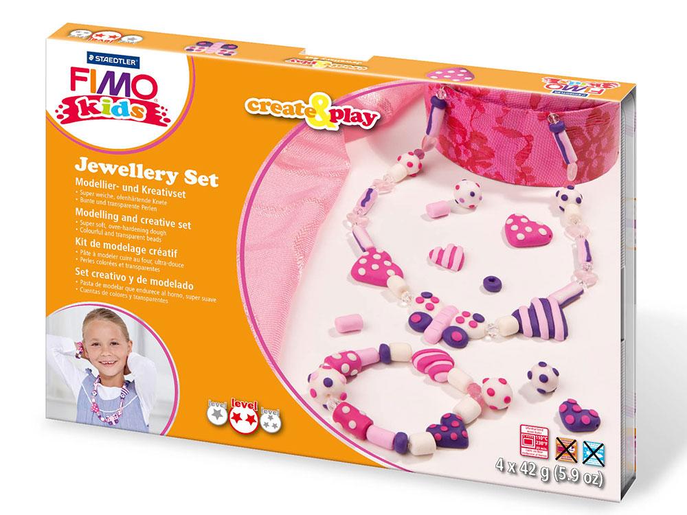 Набор FIMO Kids create&amp;play для создания украшений «Сердца»Полимерная глина FIMO<br><br><br>Артикул: 8033_01<br>Вес: 42 г<br>Серия: Наборы FIMO