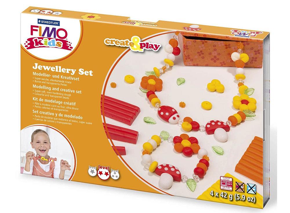 Набор FIMO Kids create&amp;play для создания украшений «Цветы»Полимерная глина FIMO<br><br><br>Артикул: 8033_02<br>Вес: 42 г<br>Серия: Наборы FIMO