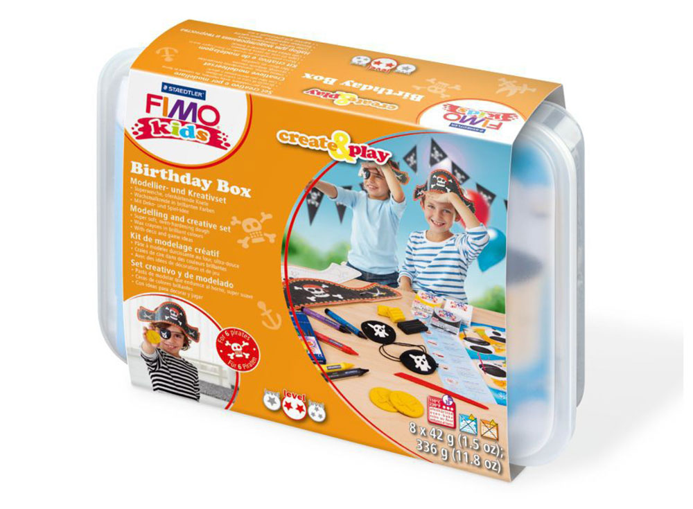 Набор FIMO Kids create&amp;play для проведения дня рождения «Пират»Полимерная глина FIMO<br><br><br>Артикул: 8033_05<br>Вес: 42 г<br>Серия: Наборы FIMO