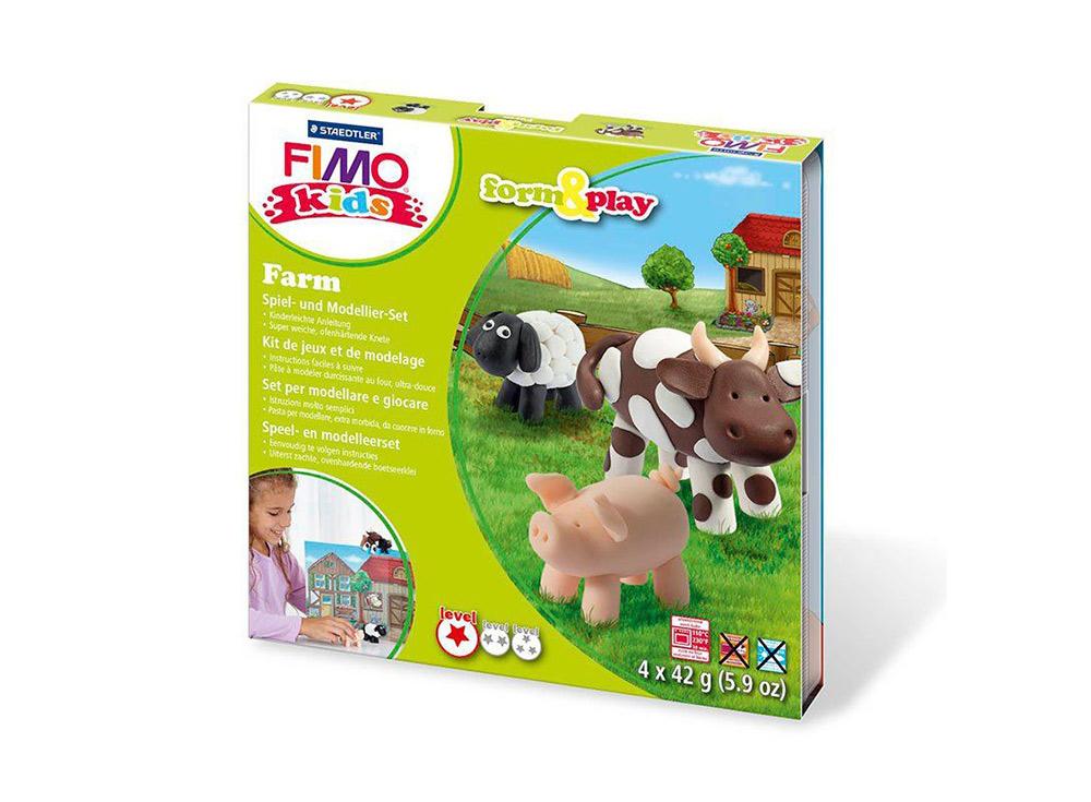 Набор FIMO Kids form&amp;play «Ферма»Полимерная глина FIMO<br>Полимерная глина — удивительный материал для творчества и декоративно-прикладного искусства. Лепка из полимерной глины в равной степени увлекает детей и взрослых, вдохновляет мастеров и новичков. Этот вид творчества не требует профессиональной подготовки ...<br><br>Артикул: 8034_01_LZ<br>Вес: 42 г<br>Серия: FIMO Kids form&amp;play