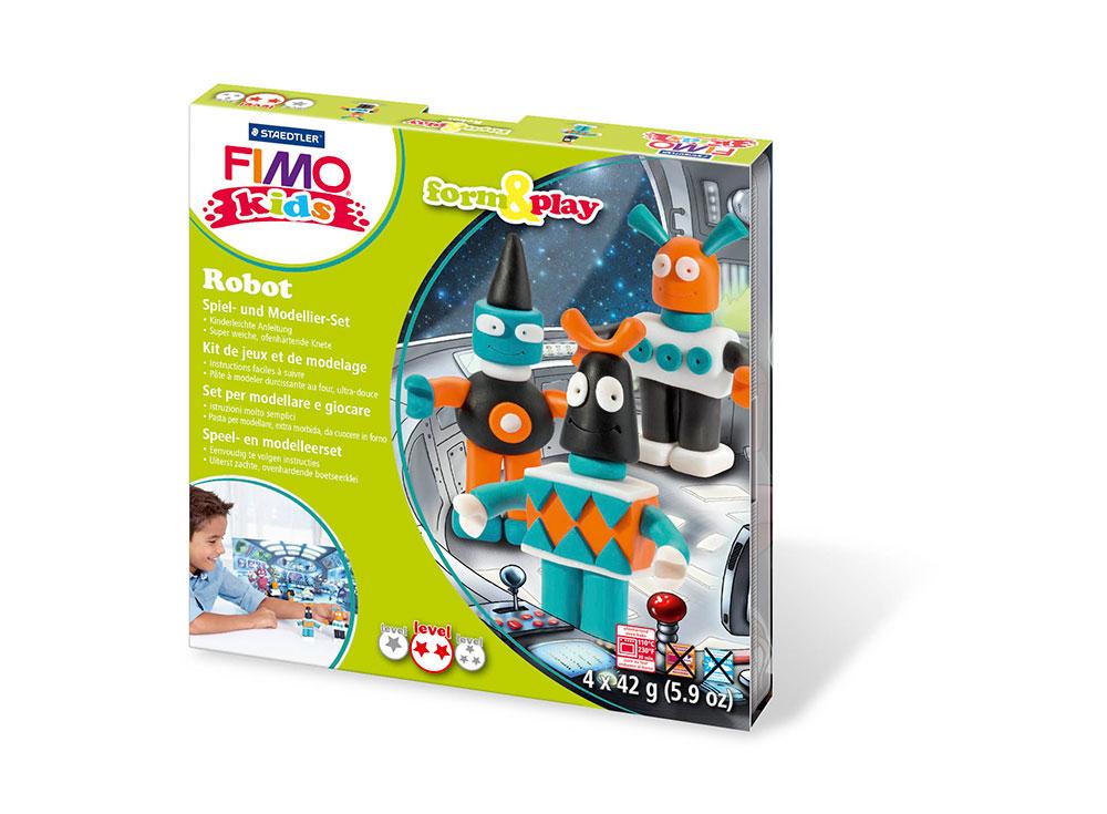 Набор FIMO Kids form&amp;play «Робот»Полимерная глина FIMO<br>Полимерная глина — удивительный материал для творчества и декоративно-прикладного искусства. Лепка из полимерной глины в равной степени увлекает детей и взрослых, вдохновляет мастеров и новичков. Этот вид творчества не требует профессиональной подготовки ...<br><br>Артикул: 8034_03_LZ<br>Вес: 42 г<br>Серия: FIMO Kids form&amp;play