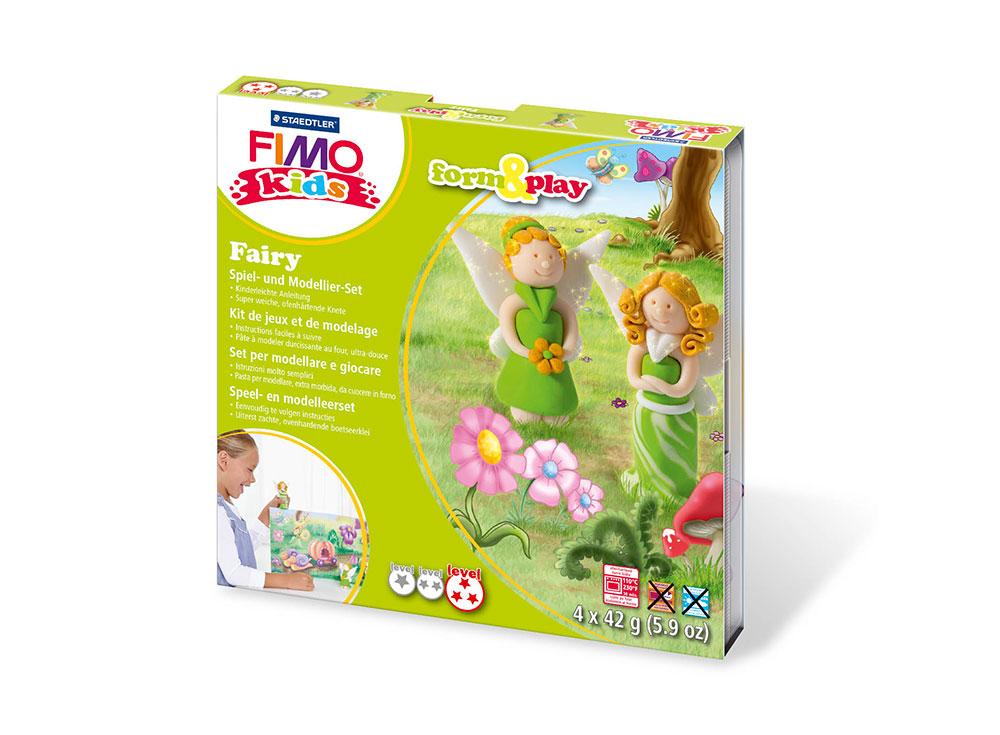 Набор FIMO Kids form&amp;play «Фея»Полимерная глина FIMO<br>Полимерная глина — удивительный материал для творчества и декоративно-прикладного искусства. Лепка из полимерной глины в равной степени увлекает детей и взрослых, вдохновляет мастеров и новичков. Этот вид творчества не требует профессиональной подготовки ...<br><br>Артикул: 8034_04_LZ<br>Вес: 42 г<br>Серия: FIMO Kids form&amp;play