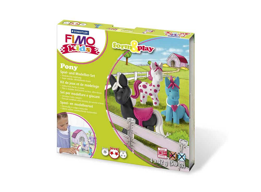 Набор FIMO Kids form&amp;play «Пони»Полимерная глина FIMO<br>Полимерная глина — удивительный материал для творчества и декоративно-прикладного искусства. Лепка из полимерной глины в равной степени увлекает детей и взрослых, вдохновляет мастеров и новичков. Этот вид творчества не требует профессиональной подготовки ...<br><br>Артикул: 8034_08_LZ<br>Вес: 42 г<br>Серия: FIMO Kids form&amp;play