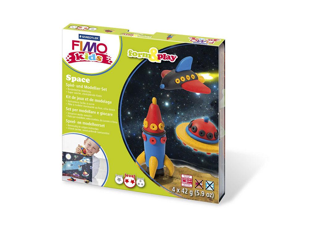 Набор FIMO Kids form&amp;play «Космос»Полимерная глина FIMO<br>Полимерная глина — удивительный материал для творчества и декоративно-прикладного искусства. Лепка из полимерной глины в равной степени увлекает детей и взрослых, вдохновляет мастеров и новичков. Этот вид творчества не требует профессиональной подготовки ...<br><br>Артикул: 8034_09_LZ<br>Вес: 42 г<br>Серия: FIMO Kids form&amp;play