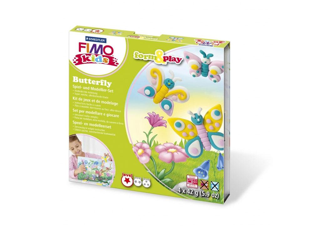 Набор FIMO Kids form&amp;play «Бабочка»Полимерная глина FIMO<br>Полимерная глина — удивительный материал для творчества и декоративно-прикладного искусства. Лепка из полимерной глины в равной степени увлекает детей и взрослых, вдохновляет мастеров и новичков. Этот вид творчества не требует профессиональной подготовки ...<br><br>Артикул: 8034_10_LZ<br>Вес: 42 г<br>Серия: FIMO Kids form&amp;play