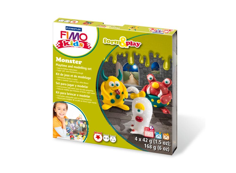 Набор FIMO Kids form&amp;play «Монстр»Полимерная глина FIMO<br>Полимерная глина — удивительный материал для творчества и декоративно-прикладного искусства. Лепка из полимерной глины в равной степени увлекает детей и взрослых, вдохновляет мастеров и новичков. Этот вид творчества не требует профессиональной подготовки ...<br><br>Артикул: 8034_11_LZ<br>Вес: 42 г<br>Серия: FIMO Kids form&amp;play